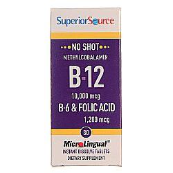 Superior Source No Shot 10,000 mcg Methyl B12, B6 and Folic 1,200 mcg