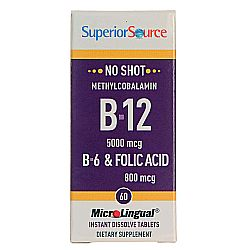 Superior Source No Shot 5,000 mcg Methyl B12, B6 and Folic Acid 800