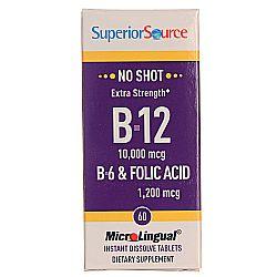 Superior Source No Shot 10,000 mcg Cyano B12, B6 and Folic Acid 1,200