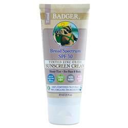 Badger Tinted Zinc Oxide Sunscreen Cream - Broad Spectrum SPF 30