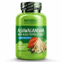 NATURELO Organic Ashwagandha with Black Pepper Extract