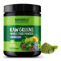 NATURELO Raw Greens Whole Food Powder Wild Berry Flavor  240 g