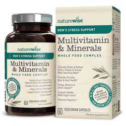 NatureWise Men's Multivitamin Mineral Whole Food Complex with Stress Support
